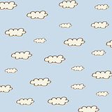 seamless background with cartoon clouds