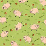seamless background with funny pigs