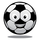 Happy cartoon smiling soccer ball