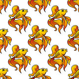 Seamless pattern of ornamental goldfish