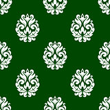 Green floral damask style seamless pattern
