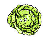 Fresh green healthy cartoon cabbage