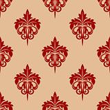 Red foliate seamless arabesque pattern