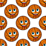 Seamless pattern of a happy cartoon basketball