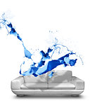 Blue paint splash white leather sofa