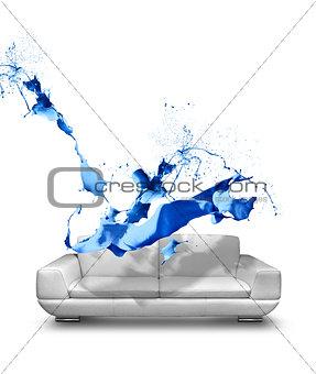 Blue paint splash white leather sofa