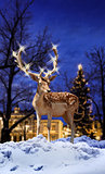 Christmas deer in small town