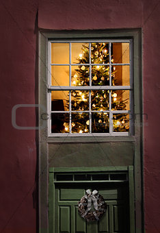 Lit Christmas tree window