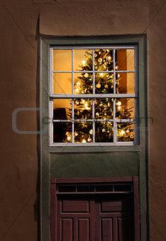 Lit Christmas tree window