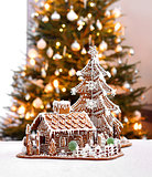 Gingerbread cottage and Christmas tree