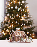 Gingerbread cottage with Christmas tree