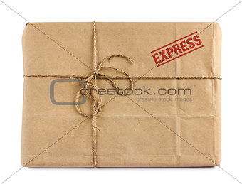 Brown mail delivery package
