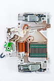 inside of circuit breaker on the white background