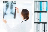 Female doctor studying Xray