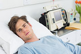 Patient relaxing in hospital bed