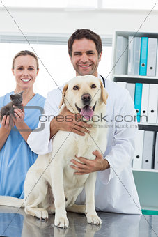 Veterinarians with dog and kitten