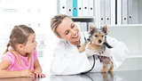 Veterinarian examining puppy with girl