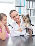 Vet with girl examining puppy in clinic