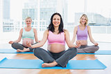 Cheerful pregnant women in yoga class sitting on mats