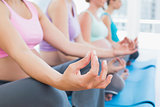 Peaceful pregnant women meditating in yoga class