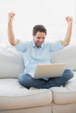 Cheering man using laptop sitting on sofa