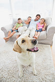 Happy family sitting on couch with their pet yellow labrador on the rug