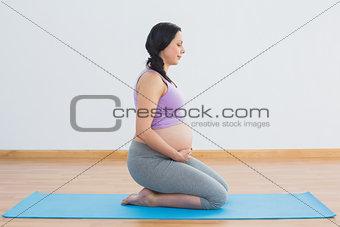 Pregnant brunette kneeling on exercise mat