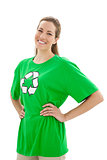Smiling woman wearing a recycling symbol t-shirt