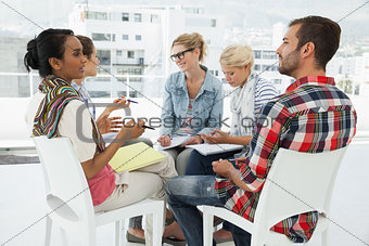 Casual young people in meeting