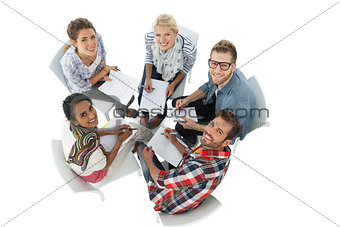 Group portrait of casual people in meeting
