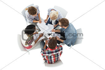 Group of casual young people in meeting