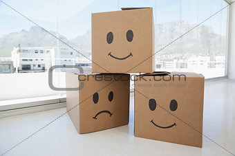 Three cardboard boxes with smiley signs against window