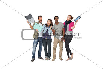 Casual young people with documents and digital table