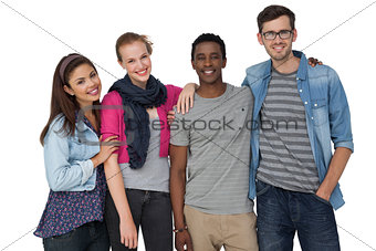 Portrait of four happy young friends