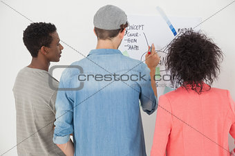 Artists using whiteboard in creative office