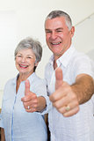 Cheerful retired couple looking at camera giving thumbs up