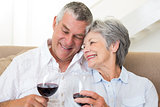 Senior couple sitting on sofa having glasses of red wine
