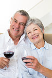 Senior couple sitting on couch having of red wine