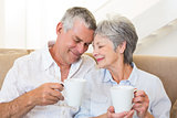 Senior couple sitting on couch drinking coffee touching heads