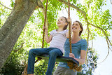 Happy mother swinging daughter at park