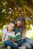 Mother and daughter reading a book at park