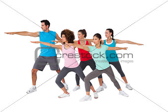 Fitness class doing stretching exercises