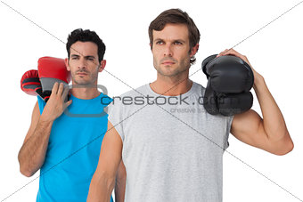 Portrait of two serious male boxers