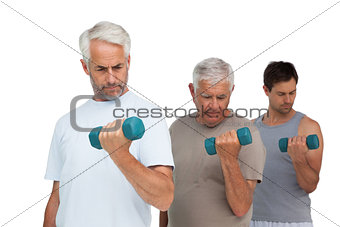 Three men exercising with dumbbells in row