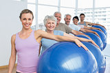 Portrait of sporty people carrying exercise balls in gym