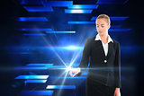 Blonde businesswoman touching light