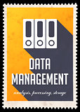 Data Management on Yellow in Flat Design.
