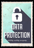 Data Protection on Blue in Flat Design.