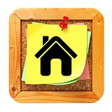 Home Icon - Yellow Sticker on Message Board.