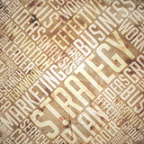 Strategy - Grunge Beige-Brown Wordcloud.